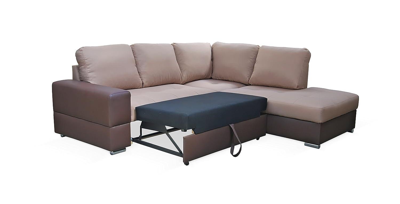 Rabatti Dortmund Stylish Designer Sofa mit Schlaffunktion, kunstleder Hellbraun, Schnekelmaß 250 x 220 cm, Ecksofa Couch Schlafsofa Ottomane Rechts