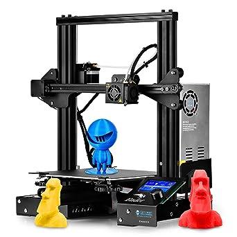 Impresora 3D SainSmart x Creality Ender-3, impresora V-Slot Prusa i3 para uso eh el hogar y en la escuela, placa de montaje de 22 x 22 x 25 cm