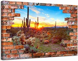 LevvArts Modern Canvas Wall Art Saguaros at Sunset Landscape Poster Canvas Arizona Sonoran Desert Pictures with Brick Wall Background Painting Artwork Vintage Bedroom Apartment Decor Framed