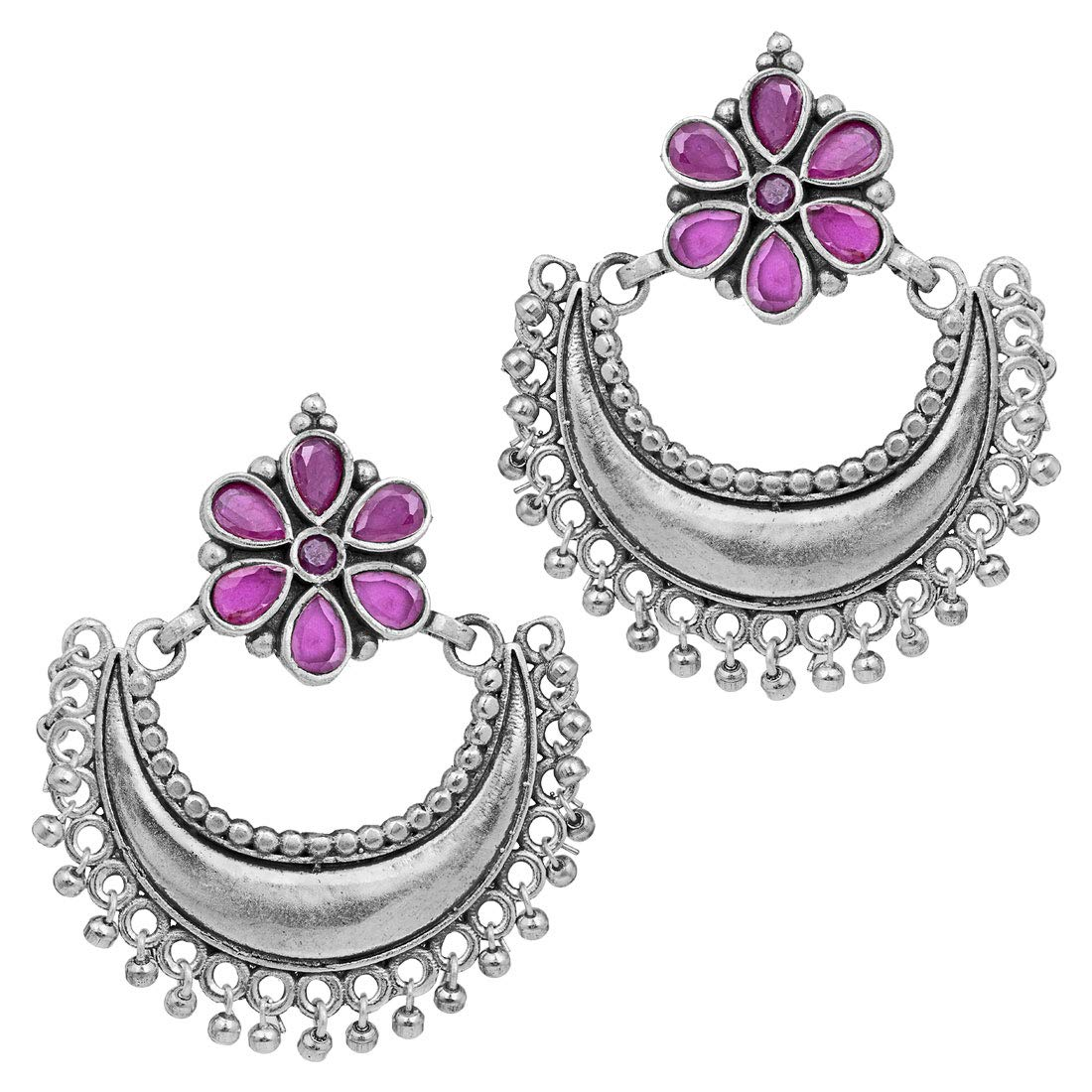 Aheli Indian Boho Oxidized Faux Stone Studded Chandbali Earrings Ethnic Fashion Jewelry for Women Girls