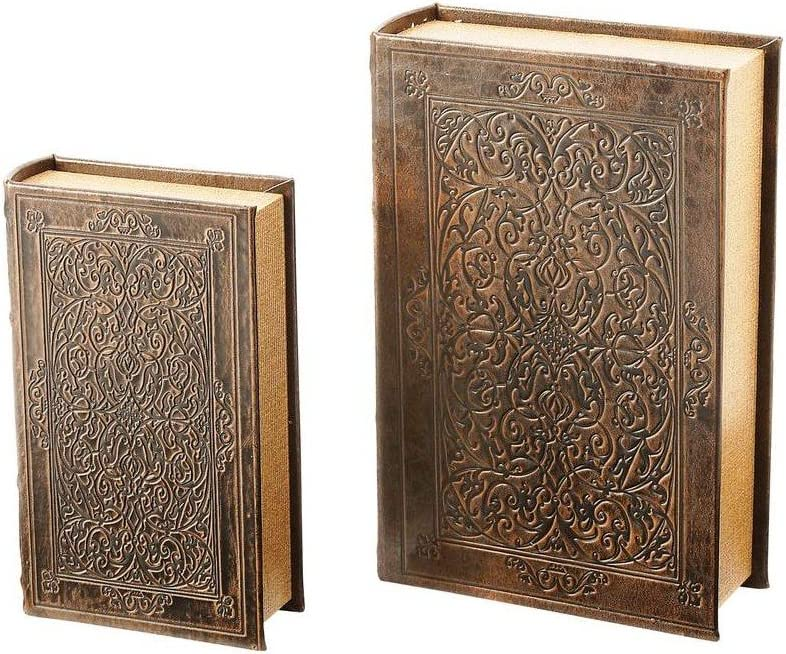 BNFUSA Safety Box 2 Piece Faux Book Safe Set, Multisizes, Gold