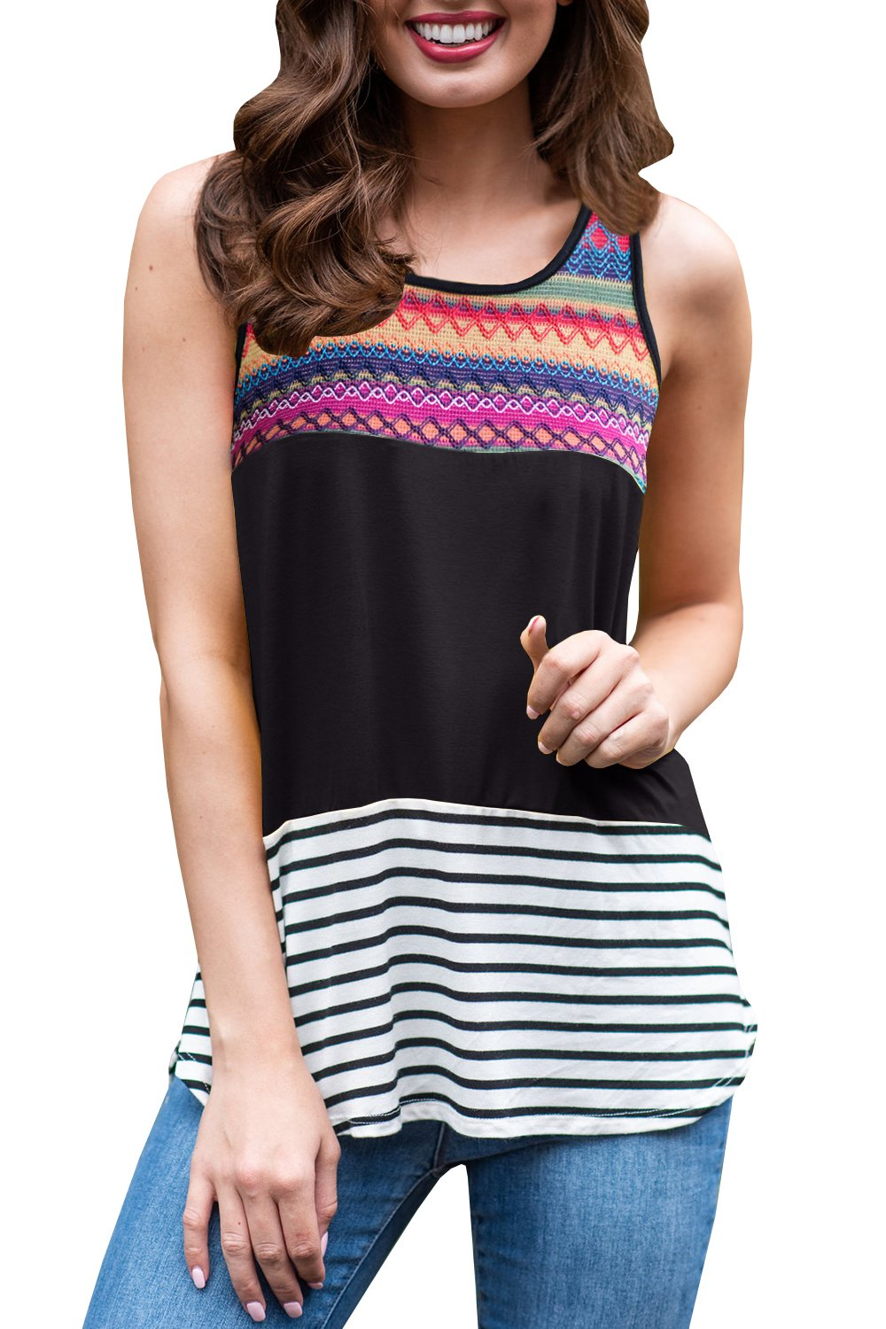 Womens Tank Tops Summer Casual Colorblock Striped Sleeveless Shirts Long Blouses