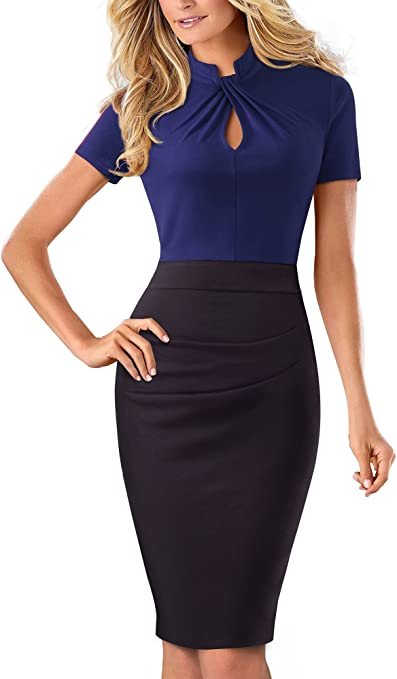 Women's Short Sleeve Business Church Dress