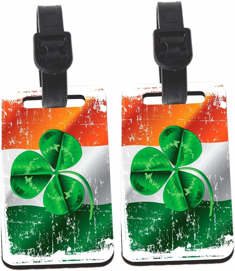 Rikki Knight Shamrock on Irish Flag Grunge Design Luggage Identifier Tag (1-sided) - with Strap Closure (Set of 2)