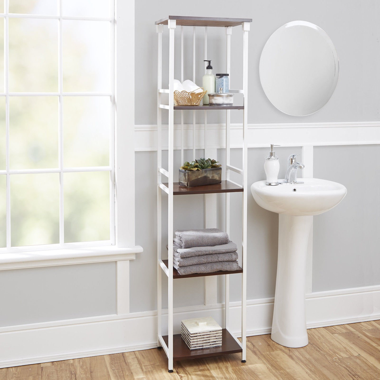Marvelous Looking Mixed Material Bathroom Collection 5-Tier Linen Shelf Organize Your Bathroom With This Space Saving Unit