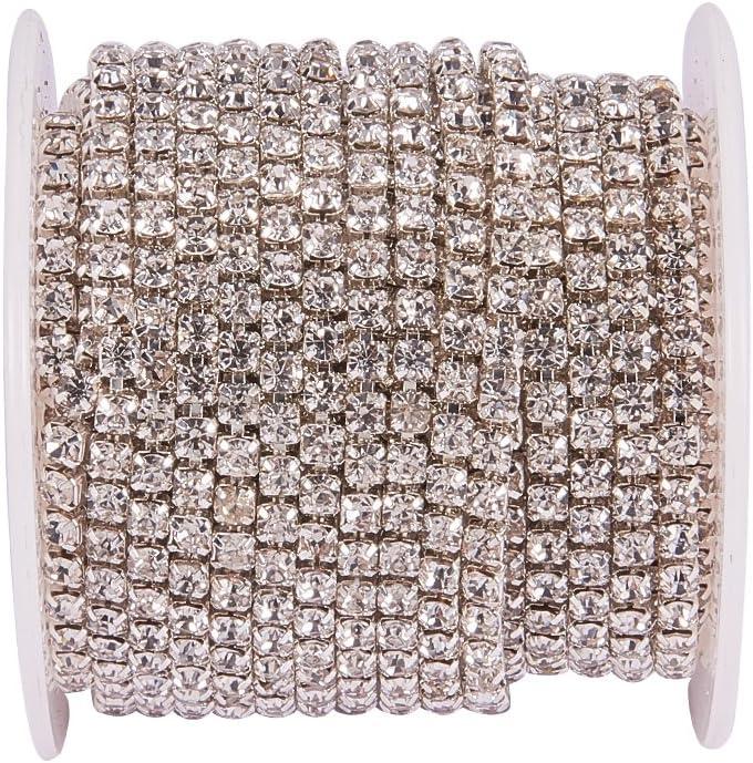 Silver Bottom Crystal BENECREAT 10 Yard 3mm Crystal Rhinestone Close Chain Clear Trimming Claw Chain Sewing Craft About 2330pcs Rhinestones