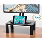Halter LZ-500 Premium Height Adjustable Monitor Stand, Laptop Stand, Monitor Riser - Home & Office Desk Organizer, Black - 2 Pack