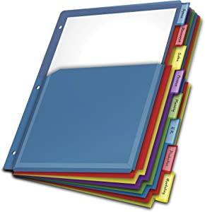 "Cardinal Expanding Plastic Binder Dividers, Flexible Front Pockets Expand 1/4"", 8-Tab, Insertable Multicolor Tabs, Letter Size, 1 Set (84013)"