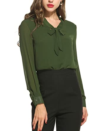 67f90a02dfa372 Beyove Damen Elegant Business Chiffonbluse Schluppenshirt T-Shirt mit  Schleife V-Ausschnitt Einfarbig Tops