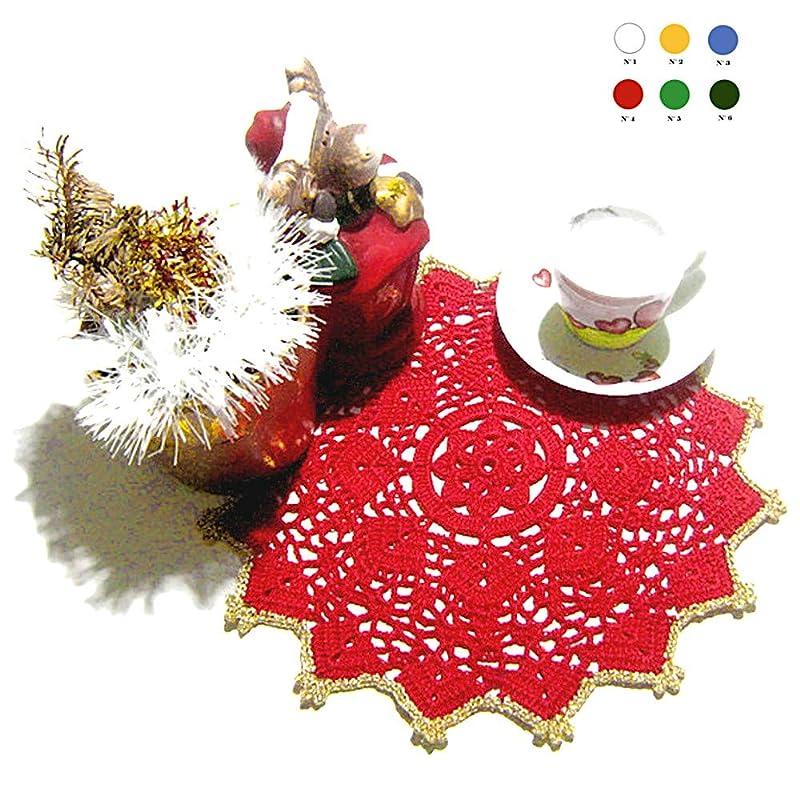 Tapete de ganchillo redondo rojo y dorado para Navidad en algodón ...