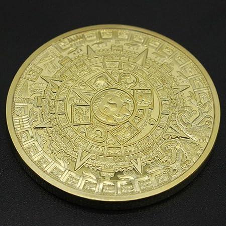 Twifer Gold Gedenkmünze Mexican Maya Kalender Vergoldete Münzen