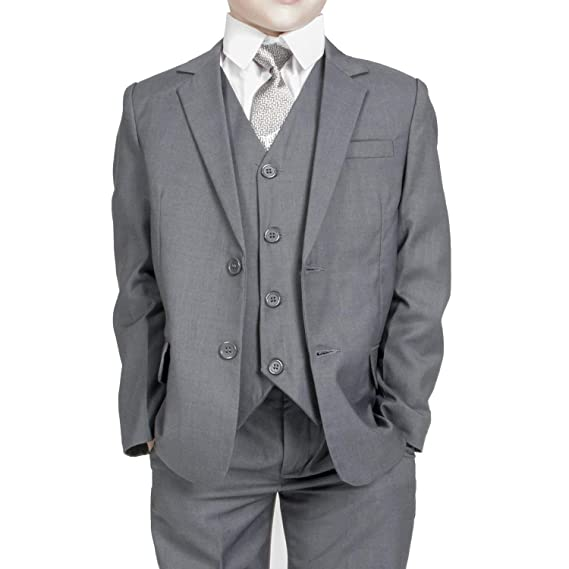 Amazon.com: Grey Boys Tuxedo 3-Piece Dress Suit Set for ...
