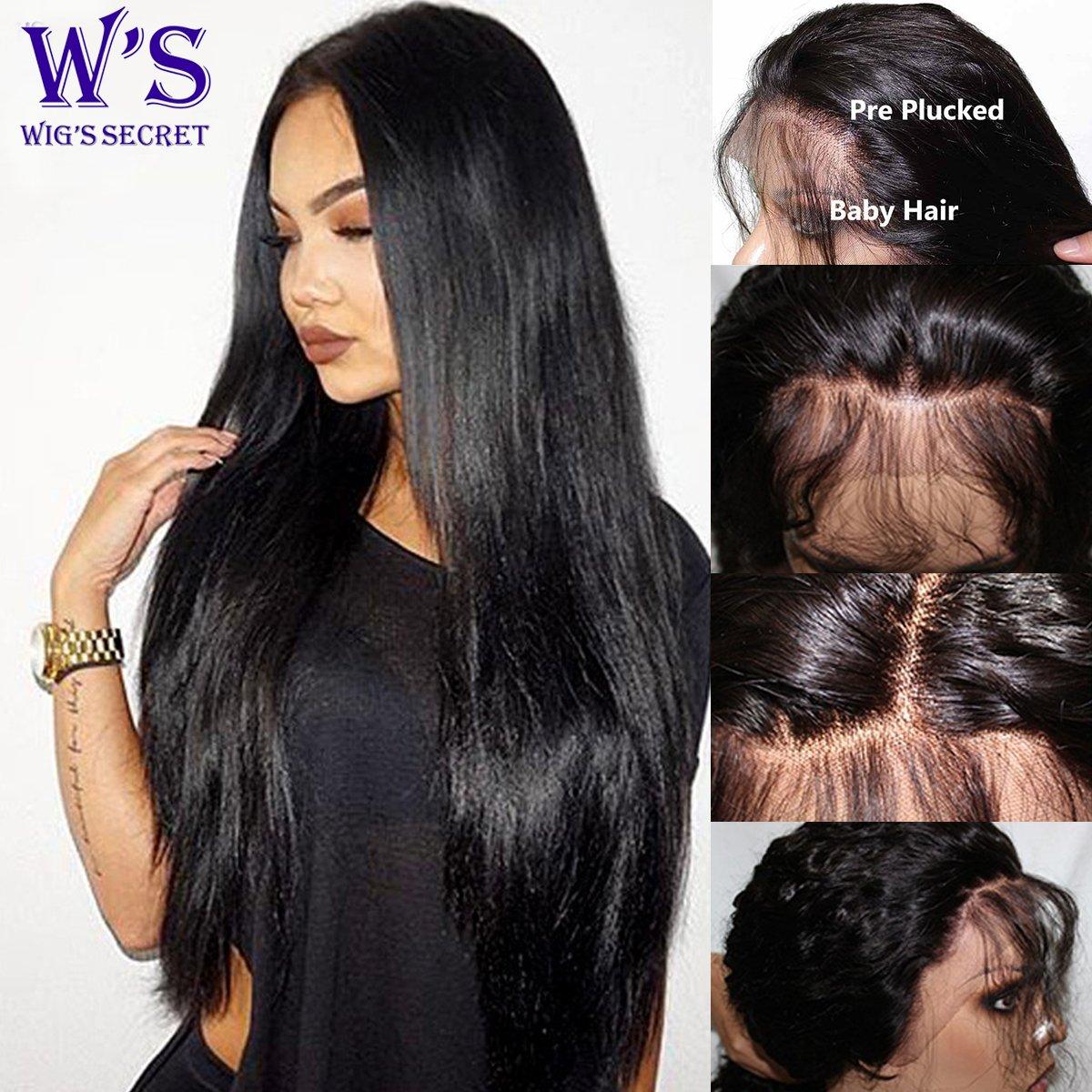 S-noilite Human Hair Lace Front Wigs 100% Brazilian Virgin Human Hair Full Head Wigs For Black Women Ladies ( 14 inch 1B - Off Black - Straight)