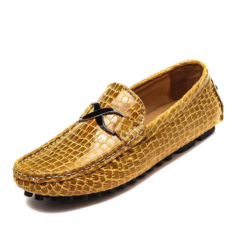 Sunny&Baby Los Zapatos del holgazán de los Hombres imitan la Textura del cocodrilo Hebilla del Metal Mocasines Casuales del Vestido del Negocio (Caliente Opcional) Antideslizante 39 EU|Marrón