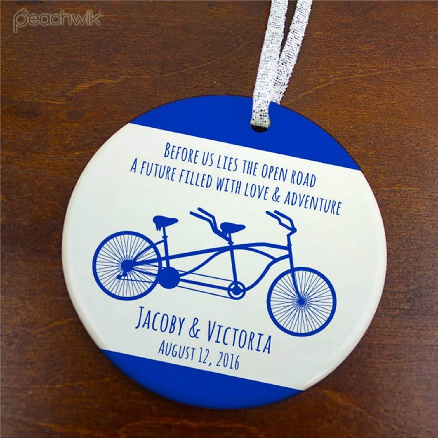 DONL9BAUER Custom Just Married Newlyweds Christmas Ornaments Tandem Bike Xmas Tree Decorations Hanging Ornament Keepsake Family Friends Present 2020 A Year to Remember