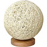 MinTian Romantic Solid Wood Table Lamp Bedside Lamp Rattan Ball Round Lampshade with USB Charging Port Sweet Dream Lamp (Crea