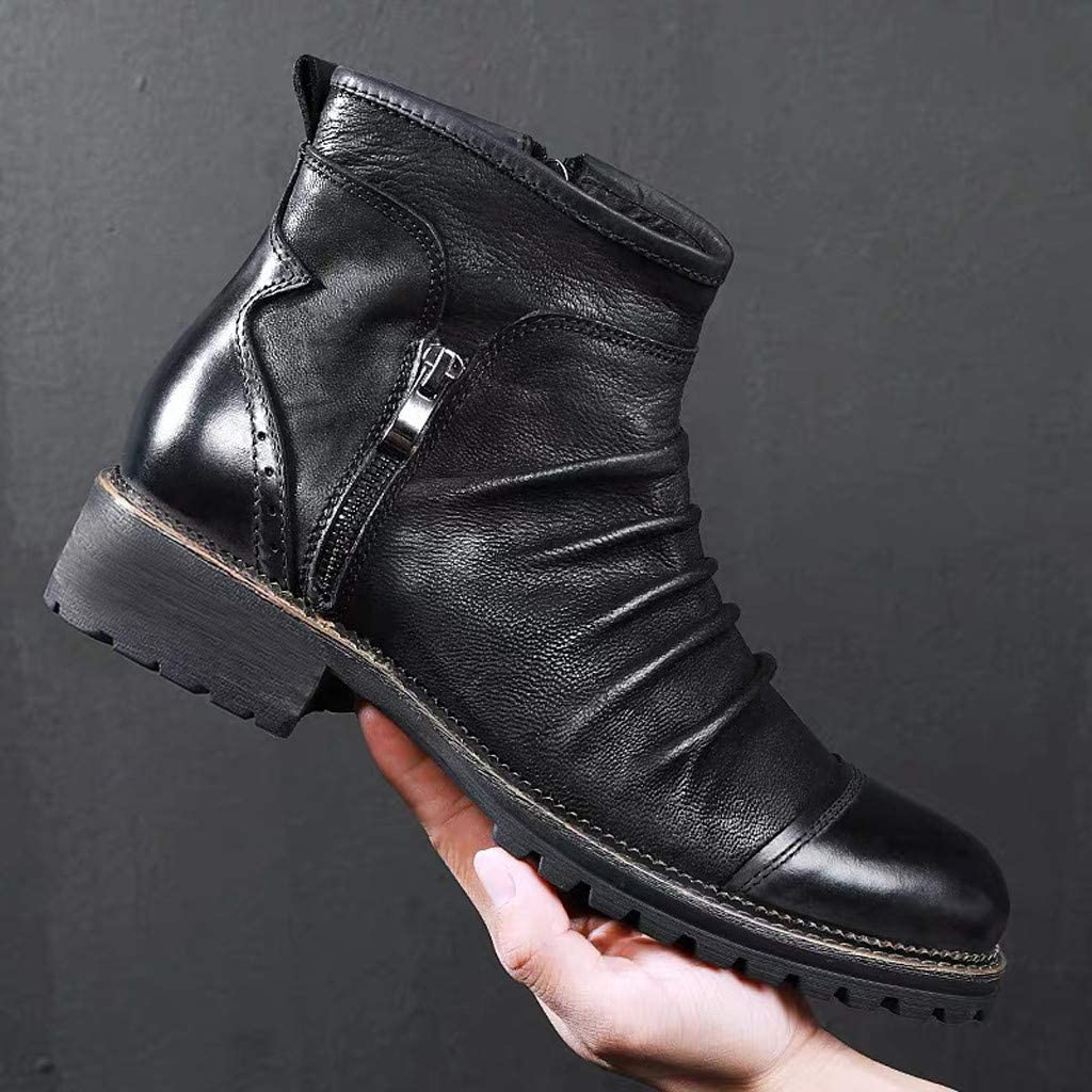 perfectCOCO Mens Retro Short Boots Side Zipper Ankle Boots Tooling Boots Outdoor Work Boot High-Top Fashion Sneaker