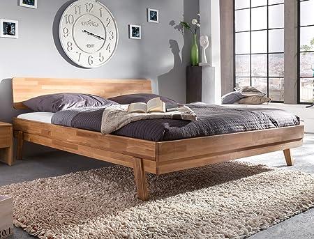 Cama de madera de 200 x 200 Liano de madera maciza de roble ...