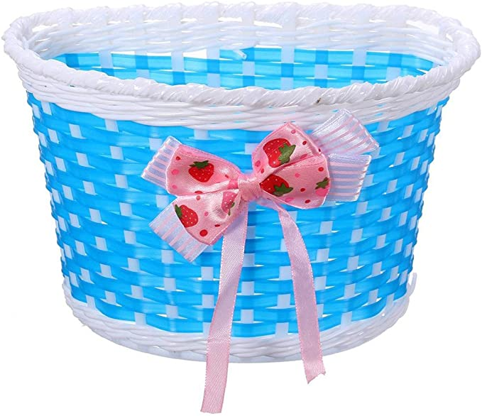 Details about  /Kids Bike Bicycle Front Basket with Bowknot Shopping Stabilizers for Children