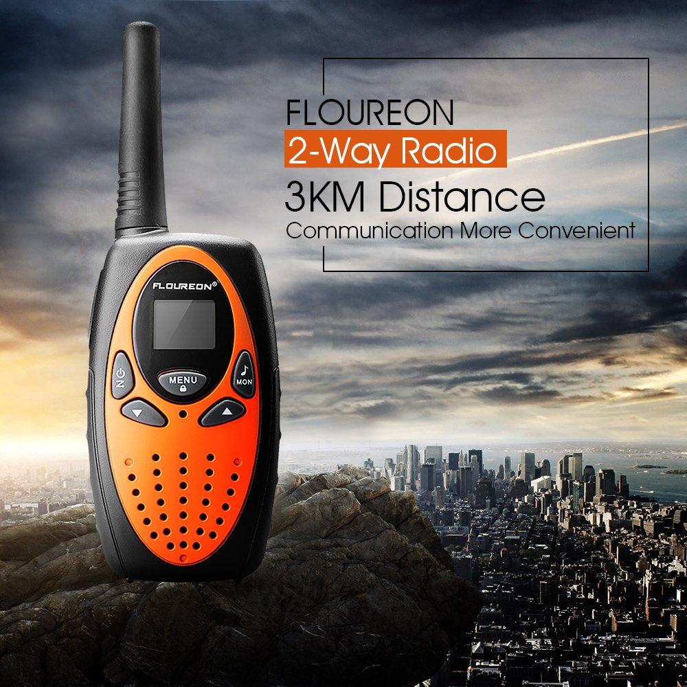 FLOUREON 4 Packs Walkie Talkies Two Way Radios 22 Channel 3000M (MAX 5000M open field) UHF Long Range Handheld Talkies Talky (Orange) by floureon (Image #5)