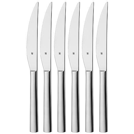 WMF Nuova - Cubertería para Carne, 6 Cuchillos monobloque de Acero Inoxidable