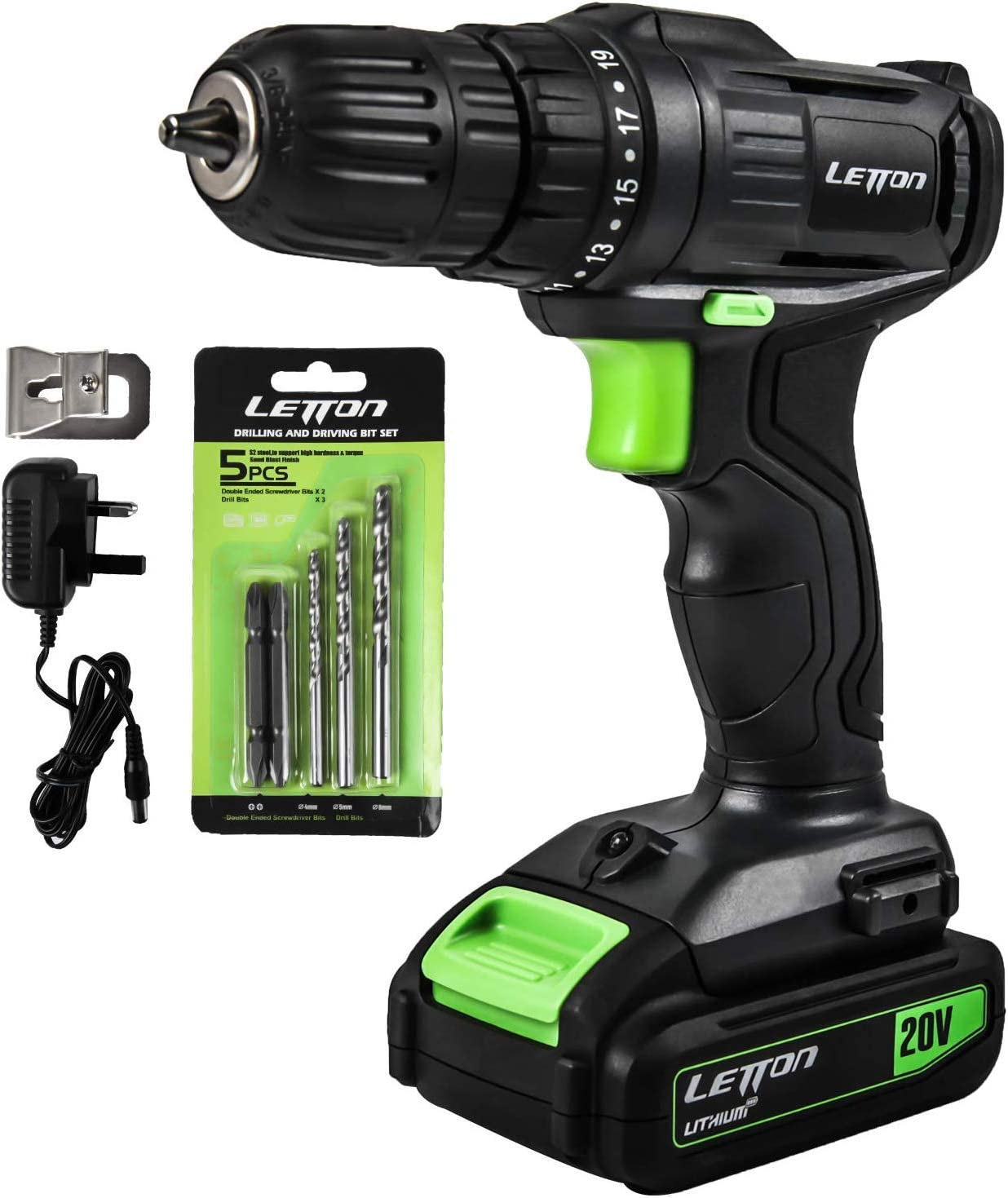 Cordless Drill Driver, 20V Lithium Ion Power Drill with Work Light, Max Torque 20N.m , 3 8 inch Keyless Chuck, 19 1 Position, Single Speed 0-600RPM – 1.3Ah Battery Charger Included