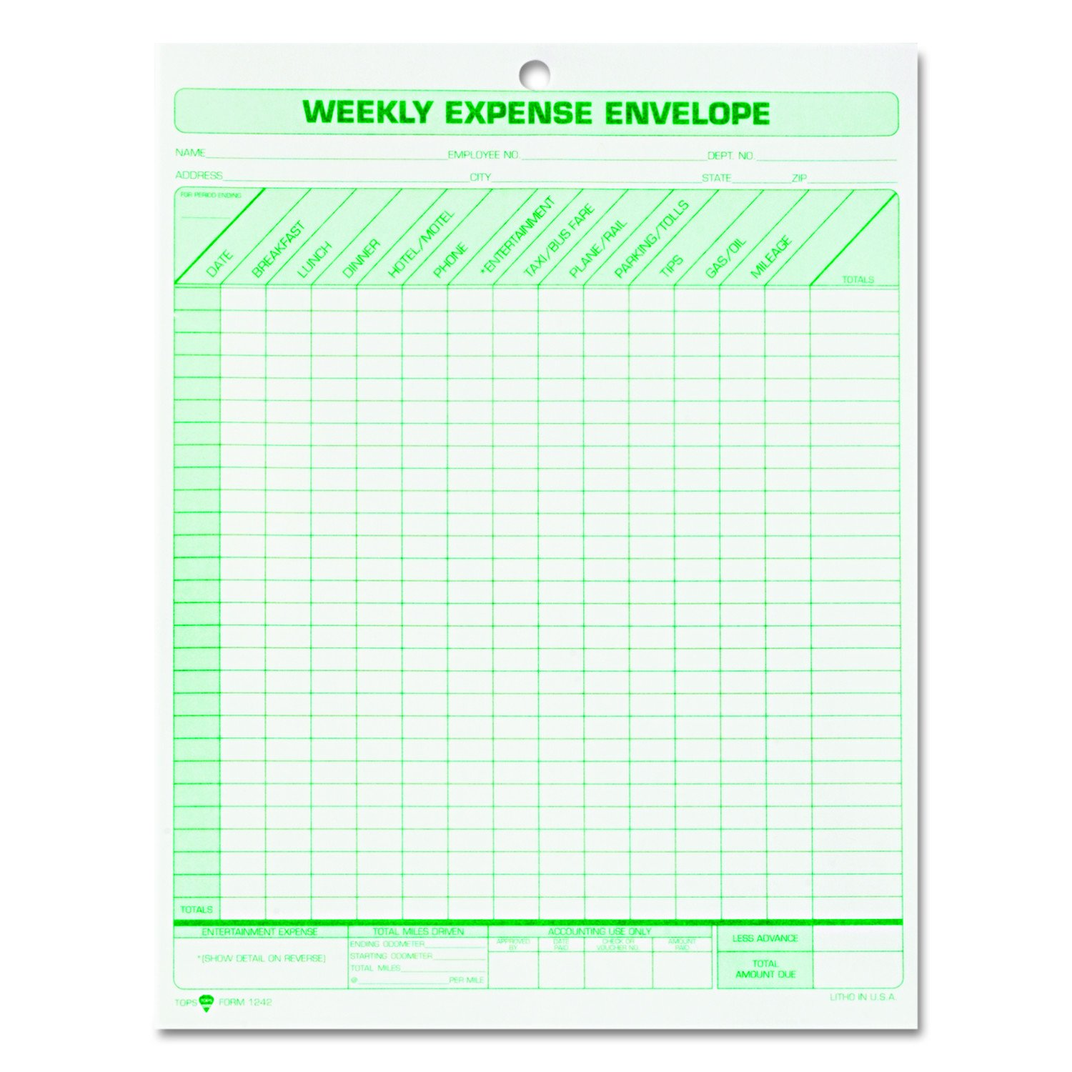 TOPS Weekly Expense Envelope, 8-1/2 X 11, 20 Envelopes Per Pack (1242)