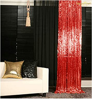 Zdada Red Seamless Sequin Satin Backdrop Not Through Sparkly Curtain-5ftx9ft