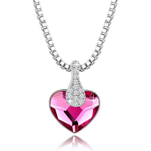 d954585c112a3 Yellow Chimes 925 Silver Crystals from Swarovski Pink Ocean Heart Pendant  for Women and Girls