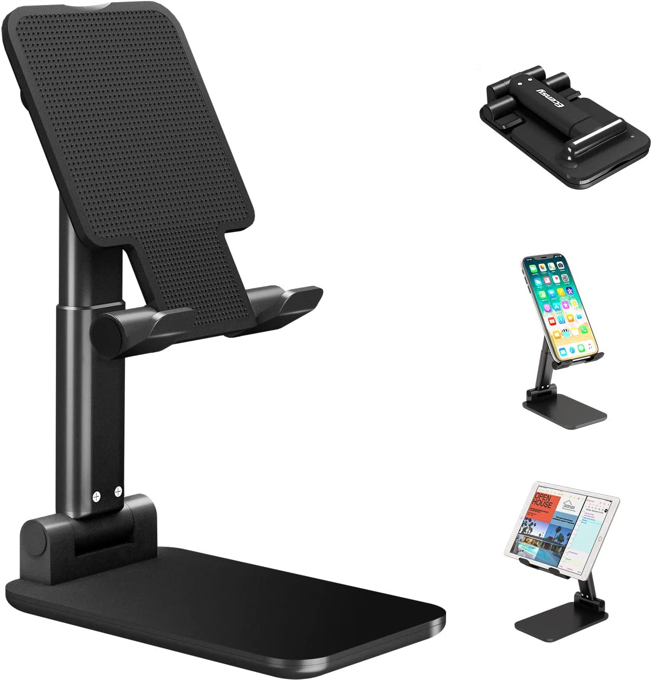 Foldable Mobile Phone Stand Rechargeable Universal Tablet Stand Compatible with Mobile Phone//iPad//Tablet Black for Rechargeable Adjustable Desktop Phone Stand with Adjustable Angle and Height