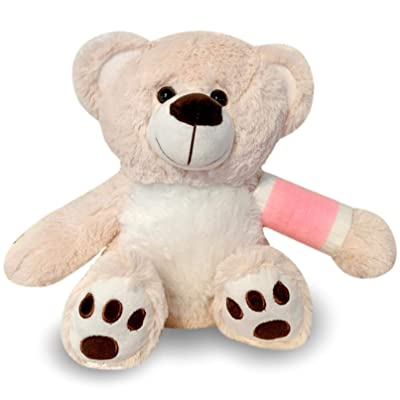 "12"" Broken Arm Teddy Bear- Pink Cast; Left Arm: Toys & Games"