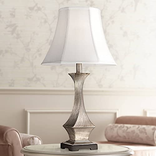 Lydia Modern Table Lamp Silver Leaf Twist White Bell Shade for Living Room Family Bedroom Bedside Nightstand Office – Regency Hill