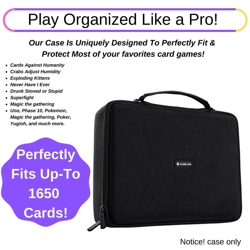 caseling Extra Large Hard Case (2 Row) for C. A. H. Card Game. Fits the Main Game, All 6 Expansions Plus. Includes 6 Moveable Dividers. Fits up to 1650 Cards. - Card Games Sold Separately. Black