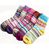 5 Pairs Womens Vintage Style Winter Soft Warm Thick Knit Wool Cozy Crew Socks