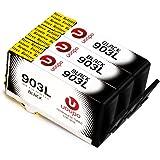 Uoopo 903 903 L Compatibile Sostituzione per HP 903 L Nero Cartucce d'Inchiostro , 3 Nero per HP OfficeJet 6950 HP OfficeJet Pro 6960 6970 All-in-One Stampante.