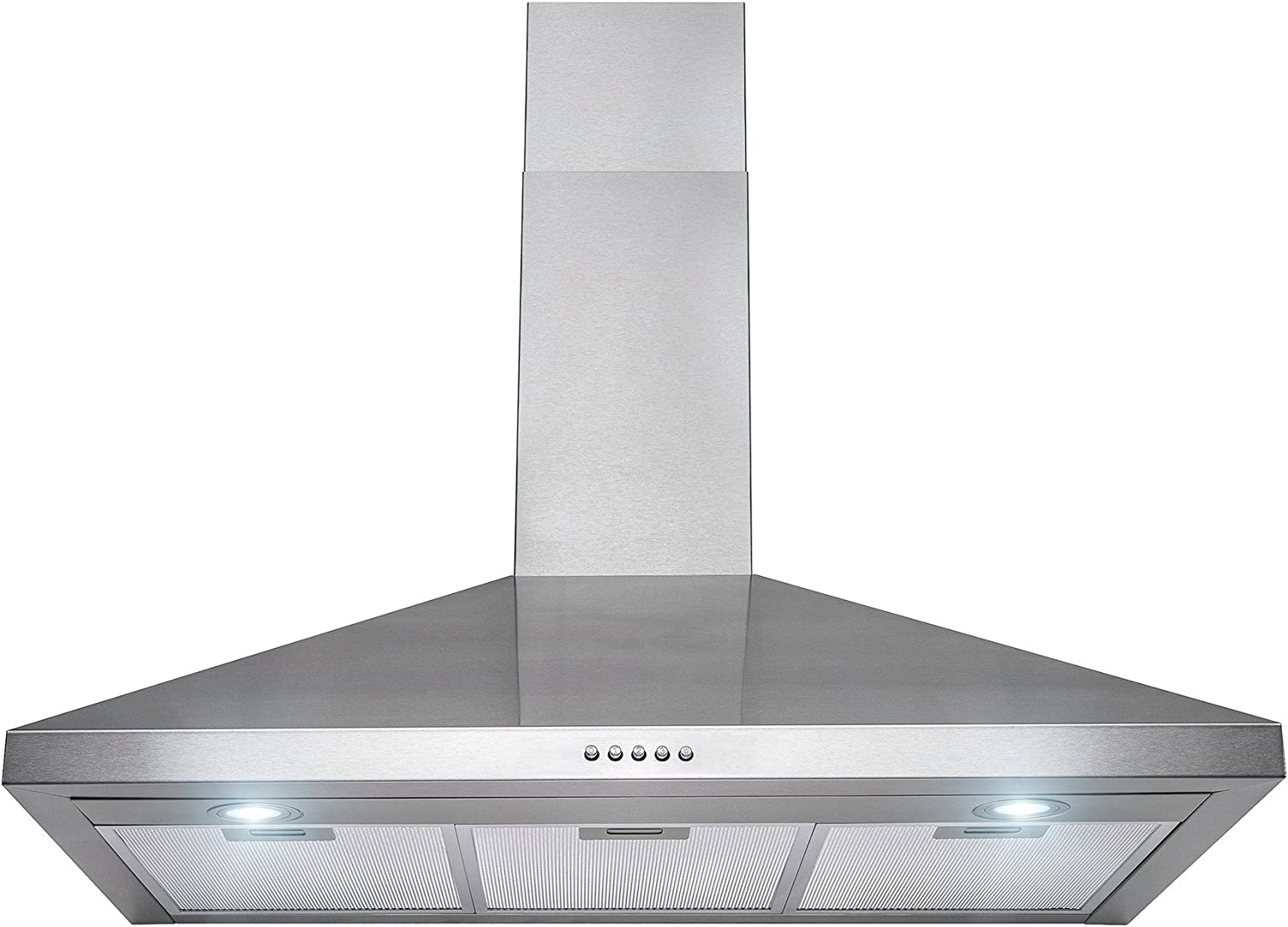 "36"" Convertible Wall Mount Range Hood with LED Lights in Stainless Steel with Push Buttons"