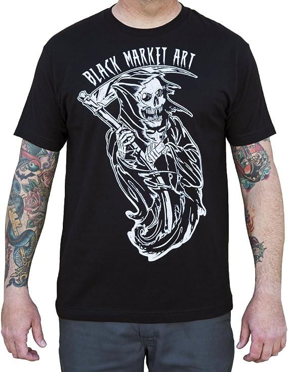 Tattoo Shop Death Reaper Skull Printed Cotton  t-shirt
