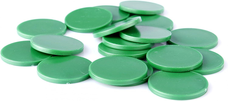 Fichas de 1 euro para carros de la compra en 7 colores, puede usarse como fichas de juego., plástico, Sattgrün, 100 unidades