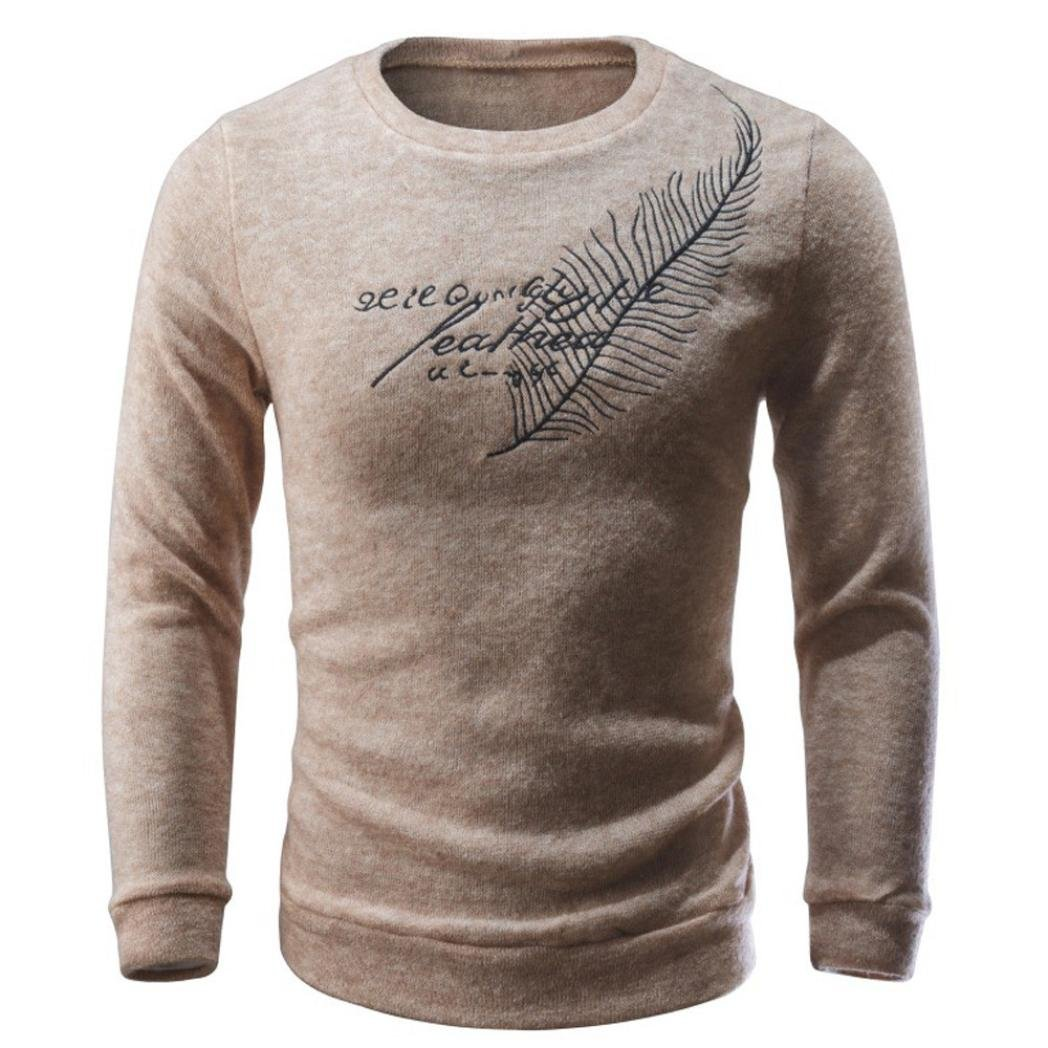 Ecurson Men Autumn Winter Casual Letters Print Sweater Knitting Sweater Pullover