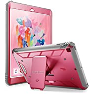 Poetic Revolution New iPad 9.7 Inch 2017/2018 Rugged Case with Hybrid Heavy Duty Protection and Built-in Screen Protector and Kickstand for Apple iPad 9.7 2017 / iPad 9.7 2018 Pink/Gray