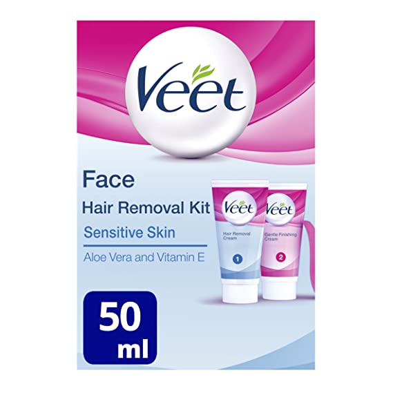 Veet Crema depilatoria facial - 2 x 50 ml: Amazon.es: Salud y cuidado personal