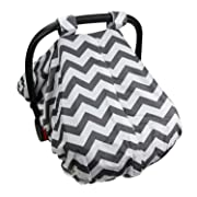 Car Seat Canopy for Boy & Girl | Peekaboo Opening, Universal Fit, Soft Cotton, Chevron, Baby Carseat Protector from Bugs & Flies | Son & Rain, Cool Warm Weather …