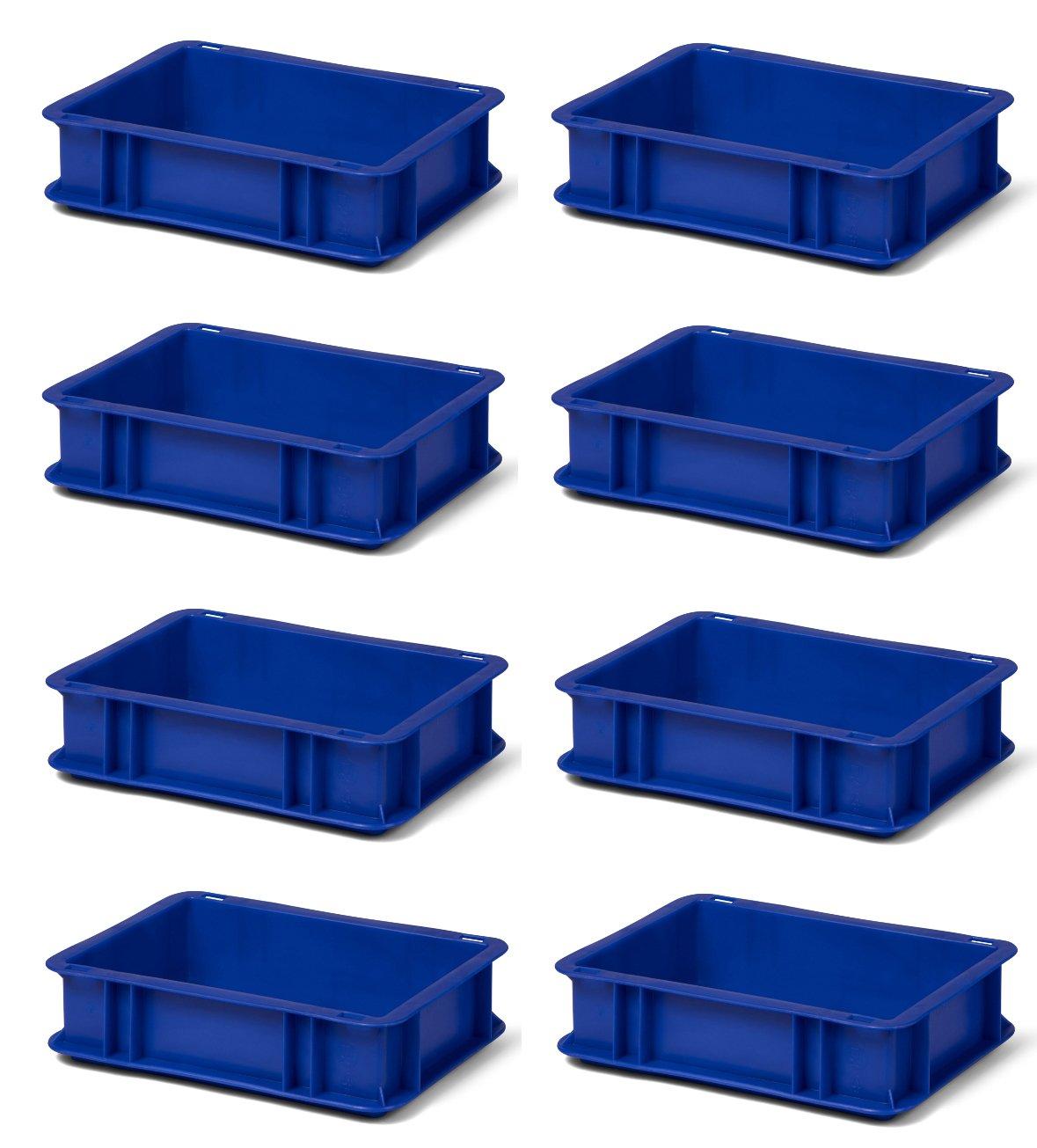 8 Stk. Transport-Stapelkasten TK375-0, blau, 300x200x75 mm (LxBxH), aus PP, Volumen: 3 Liter, Traglast: 25 kg, lebensmittelecht, made in Germany, Industriequalitä t 1a-Topstore