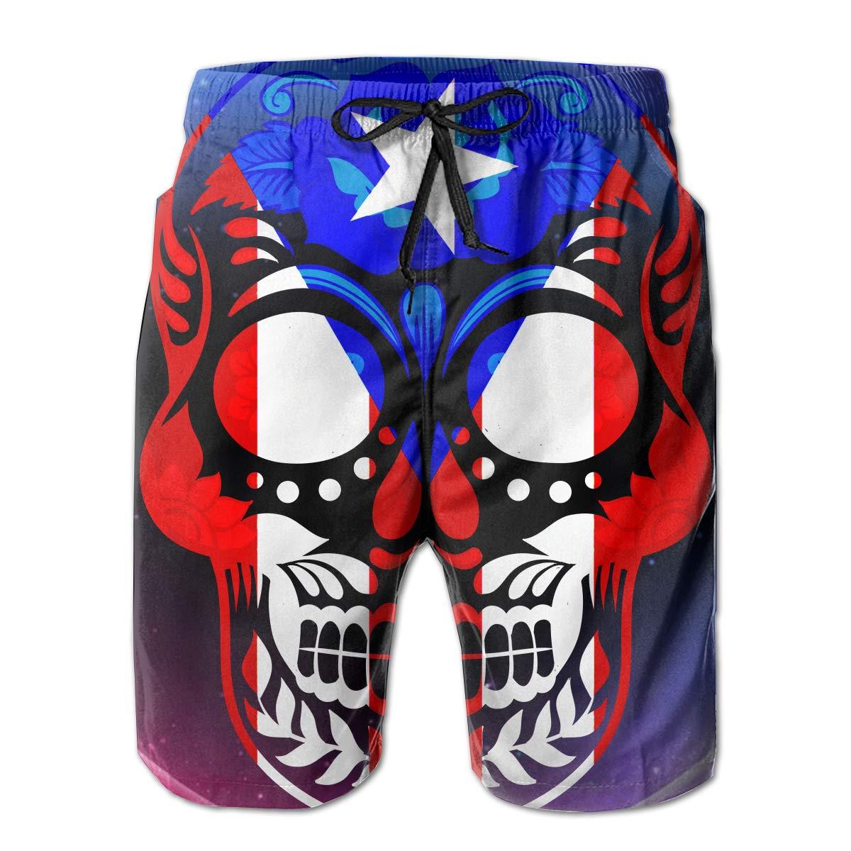 RolandracePuerto Rican Flag Sugar Skull Mens Swim Trunks with Side Pockets Mesh Lining