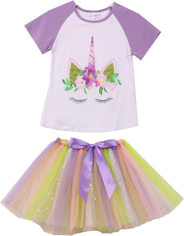 Girls 2 Pieces Skirt Set Unicorn Floral Top Colorful Tutu Skirt Clothing Set 2-8