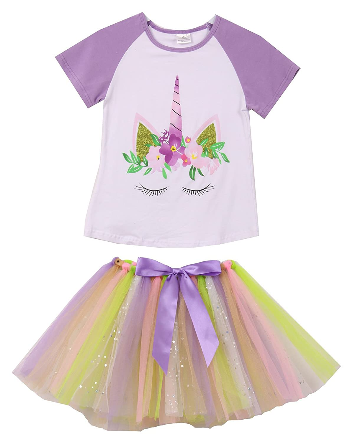 afc052a1f8 2 Piece Girls Clothing top tutu Skirt Set. Comes with Short Sleeve Glitter  Unicorn T-Shirt Top. Tulle Tutu Skirt with Bow. Easily match with leggings  or ...