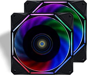 CONISY 120mm PC Case Fan Ultra Quiet LED Desktop Computer Cooling Fans - Color(Dual Pack)