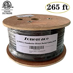 Zonegrace 14AWG 2-Conductor 14/2 Direct Burial Wire for Low Voltage Landscape Lighting, 265ft