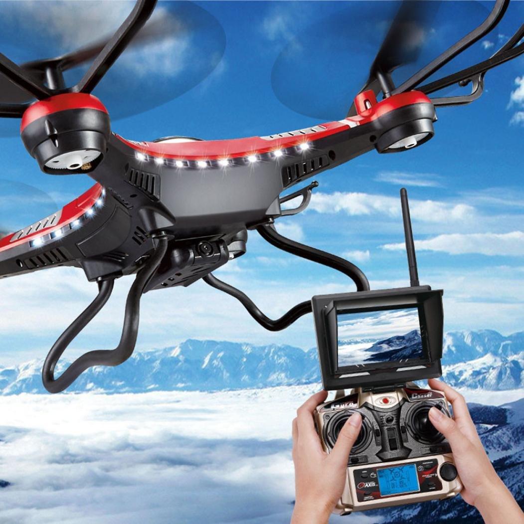 Upgrade JJRC H8D 4CH 5.8G FPV RC Quadcopter Drone HD Camera + Monitor+ 4 Battery,Tuscom@