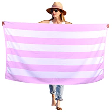 Peach B&C - Beach Towel Cabana Terry Velour Soft Turkish Cotton - Extra Absorbent - Quick Fast Drying - Sand Free - Perfect for Beach Bath Travel Pool Sports Spa Swimming (1, Pink)